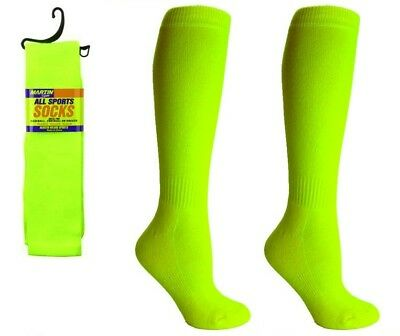 Martin Sports Docena Paquete (12 Pares) Todo Tubo Calcetines, Optic Yellow, S-L
