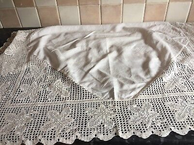 Antique liner crochet edged table cloth