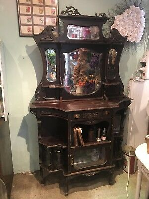 Antique Wall Unit Victorian Display Furniture Mirror Halloween Tim Burton Esq