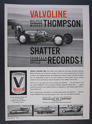 1961 Mickey Thompson USAC Trials 4 cars photos Valvoline Oil vintage print Ad