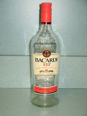 Bacardi 151 Puerto Rican Rum - Rare Discontinued 750 ml Empty Bottle with Cap
