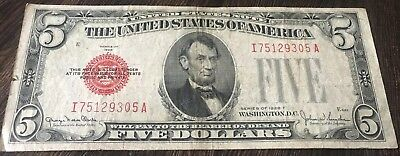1928-F $5 Five Dollars Red Seal Legal Tender United States Note