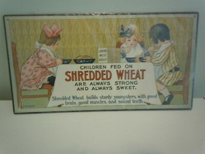 Nabisco Shredded Wheat Authentic Reproduction Sign Children Eat Breakfast 1991