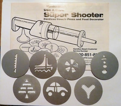 Hamilton Beach Super Shooter 7 Disc Set and 16 page Recipe Booklet