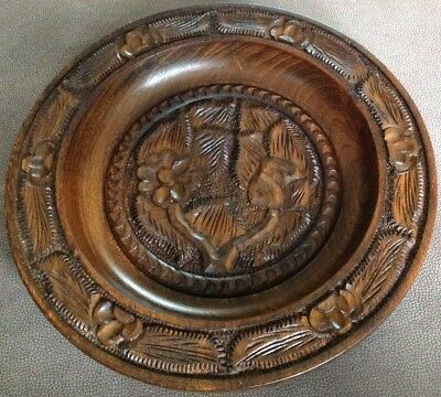 Decoratively Carved Wooden Bowl.