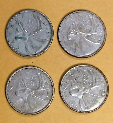 Lot of 4 Consecutive Canadian Silver 25 Cent Quarter Coins G to F