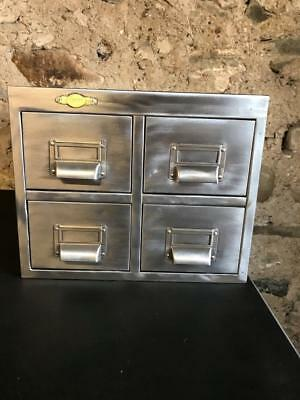 Vintage Industrial Stripped Metal 4 Drawer Metal Filing Cabinet