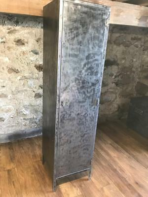 Vintage Industrial Stripped Metal Cabinet Metal Cupboard Wardrobe