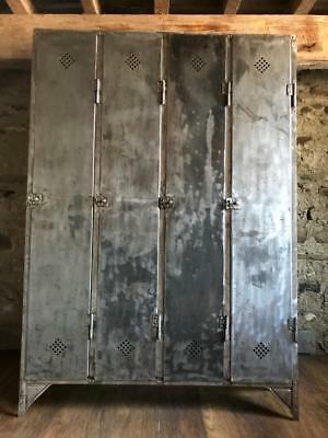 STUNNING VINTAGE 1940s INDUSTRIAL STRIPPED METAL  LOCKERS  CABINET METAL LOCKER