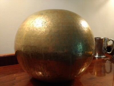 Arts & Crafts Hand Hammered Brass Presentation Bowl Large Bulbous Mission Vase