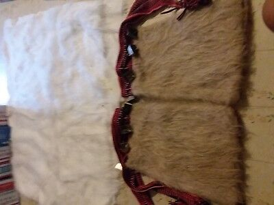 Pair Of Used Half Leggings With Bells & 23 X 60 Piece Of White Faux Fur For New