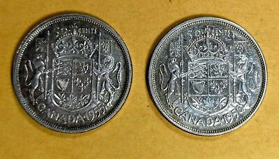 Lot of 2 1955 Canadian Silver Half Dollar 50 Cent Quarter Coins EF to AUNC