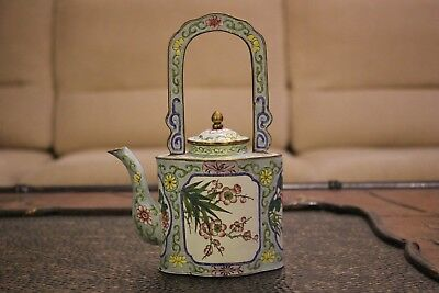 Antique Chinese Enamel Brass Teapot