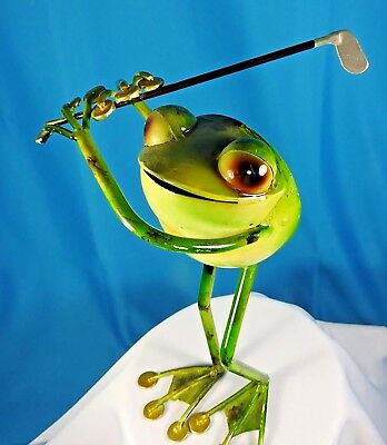 """ADORABLE FROG GOLFER GOLFING FROG Figure, Metal About 10"""" high HUMOROUS!"""