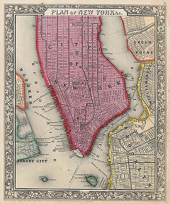 1860 Mitchell Atlas Map of New York City NYC State Brooklyn Poster Wall Decor