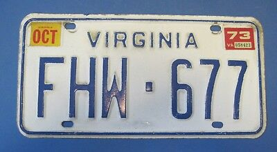 1973 Virginia License Plate nice original passenger car scarce only used 3 month