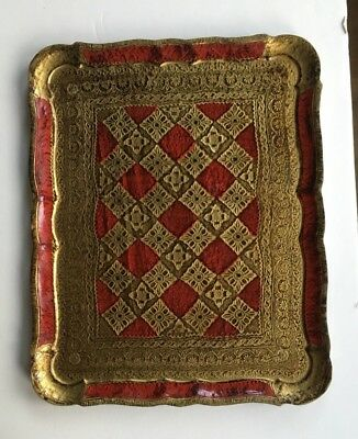 Large Red and Gold Florentine Toleware Tray with Scalloped Edge