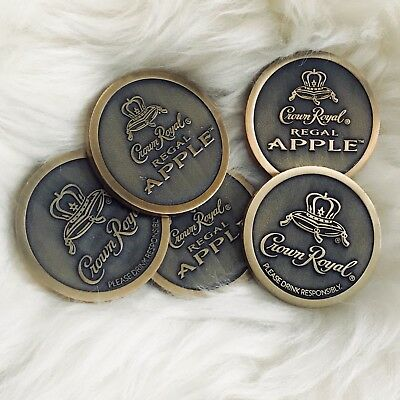 Lot Of 5 *NEW* Crown Royal Regal Apple 2 Sided / Faced Collector Coins Tokens