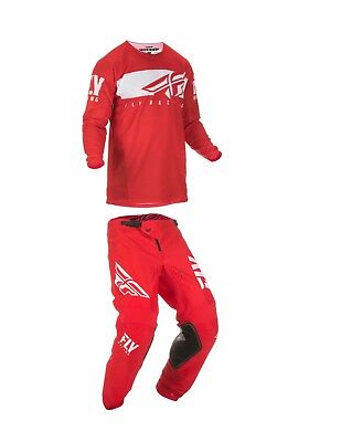 Fly Racing Mens Kinetic Shield Motocross Pants/Jersey Set Red/White
