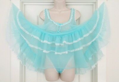 Vtg Blue Double Layer Sheer Chiffon Babydoll Nightgown with Panties & Lace M