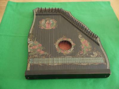 SUPERB WORKING ORIGINAL ANTIQUE 1900c ZITHER ELGARS HARP MUSICAL INSTRUMENT
