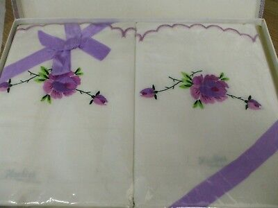 Vintage Irish linen Embroidered pillowcases ( boxed)