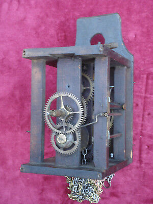 Good Earlier 19Th C Black Forest Wall Clock Movement