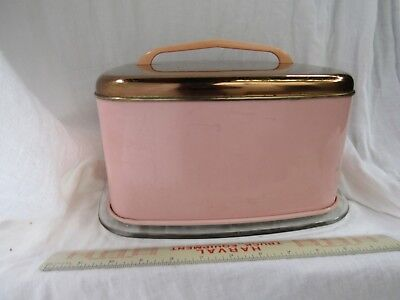 Lincoln BeautyWare Pink & Copper Cake Keeper glass bottom Plate