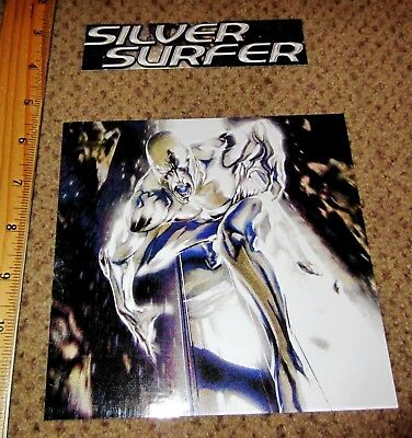 The SILVER SURFER Caricature and Logo Gloss Stickers; Spaceways Guardian!