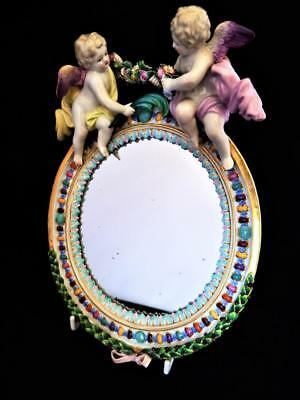 ANTIQUE MEISSEN PORCELAIN GERMANY HAND PAINTED CHERUBS WALL MIRROR 1880's