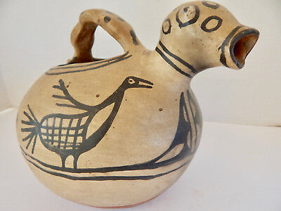 Antique Cochiti Pueblo Indian Pottery Zoomorphic Canteen With Birds
