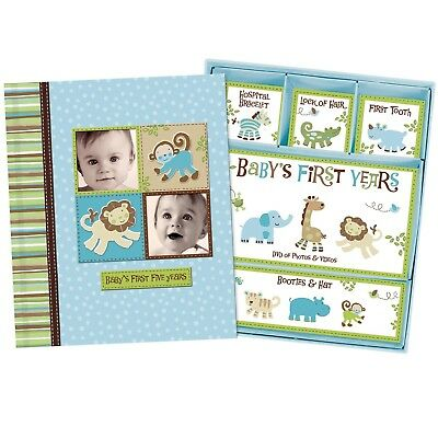Baby Boy Memory Book Hardcover Record Babys First Five Years Diary Precious M...
