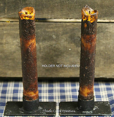 """TWO Primitive BURNT MUSTARD 6"""" Battery Operated TIMER DRIP Taper Candles"""