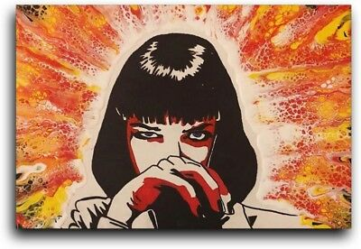 Pulp Fiction Mia Wallace painting/Abstract Fluid acrylic paint pour/12x16