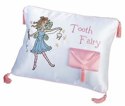 Lillian Rose Tooth Fairy Embroidered Pillow, 11 x 8 inches Red