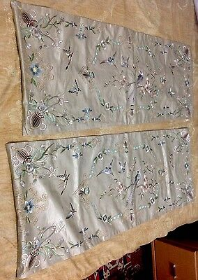 Antique Chinese Rare Bird  Wall Hanging Silk Hand  Embroidered Phoniex