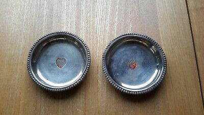 Silver hallmarked card players dishes x2