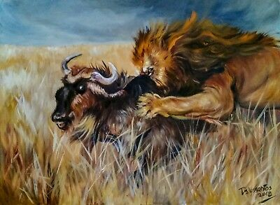 """THE HUNTER  oil on canvas 18X24""""original painting very intense and colorful  art"""