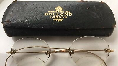 Dollond London 1/10 10ct Victorian 1870 Round Bifocal Glasses &Case Yellow Metal