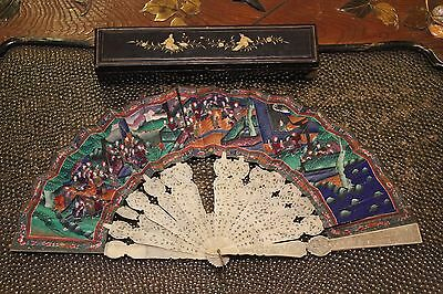 Antique Chinese Cantonese Fan & Lacquer Box 19th Century