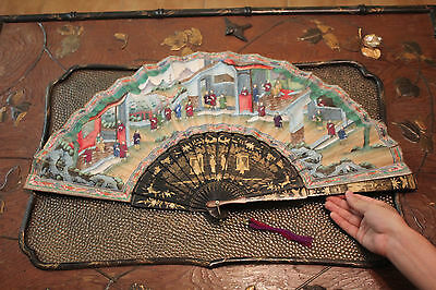 Large Antique Chinese Cantonese Fan & Lacquer Box 19th Century