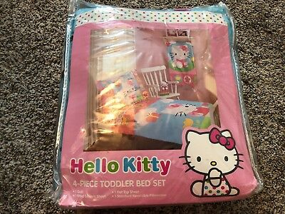 Hello Kitty Toddler Bed Set 4-piece Sheet Pillow Case Fitted Sheet Comforter NEW