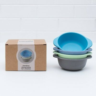 Bobo&Boo Bamboo Kids Snack Bowls, Set of 4 Bamboo Dishes, Non Toxic, Eco Frie...