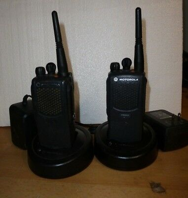 2 Motorola PR860 16-Channel UHF Two-Way Radios and 2 Rapid chargers