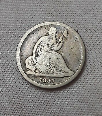 1837 Seated Liberty Dime RARE SMALL DATE & BEAUTIFUL NO STARS TYPE!!   L@@K!!