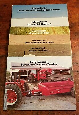 6 Vintage 70's 80's INTERNATIONAL HARVESTER IH Sales Brochure,Loaders,Mowers Imp