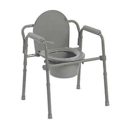 Drive Medical Folding Steel Bedside Commode, Grey,aging-coated 350lb height