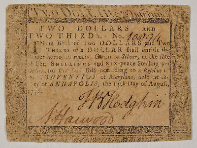 Maryland Colonial Currency August 14 1776 Two Dollars And Two Thirds 2 2/3