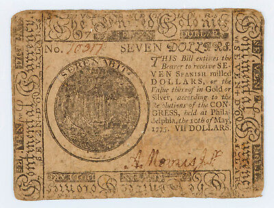 Continental Currency Seven Dollars May 10 1775 Philadelphia  $7.00 Rare