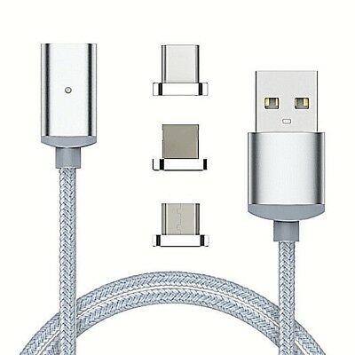 3IN1  Braided Magnetic TypeC/ Micro USB For Android / Apple Fast Charging cables